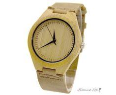 Armbanduhr Bambus Holz WOOD mit Echt Leder Armband