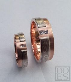 Redgold with Mokume-gane and square diamonds
