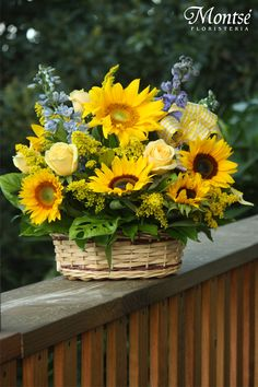 Sunflower and Rose Basket Church Flowers, Summer Flowers, Fresh Flowers, Spring Flowers, Beautiful Flowers, Basket Flower Arrangements, Beautiful Flower Arrangements, Floral Arrangements, Summer Centerpieces