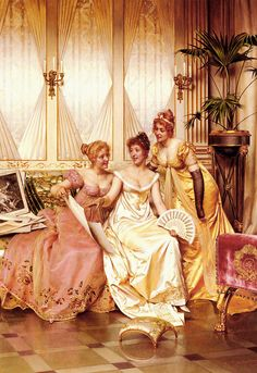 Frederic Soulacroix (1858-1933) Les Trois Connaisseuses Oil on canvas