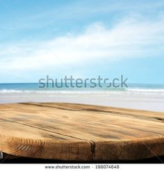 wooden retro deck and color of blue sky and sea  - stock photo