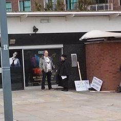 Peter Davison, Colin Baker, Sylvester McCoy Protesting their exclusion from the 50th - Prank? - The Gallifrey Times: Doctor Who Stars Spotted Protesting At The Television Centre