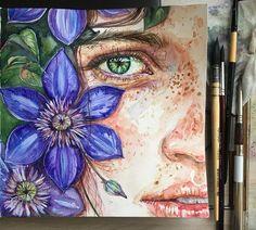 И хотя цветы меня прям выбесили 😒😣все же сочетание фиолетового и зеленого делает эту картинку на данный момент любимой в моем скетчбуке…