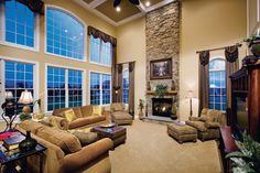 coffered ceiling two story fa,ily room - Google Search