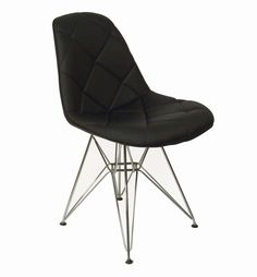 Black Mid Century Padded Dining Chair with Chrome Legs