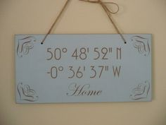 Latitude Longitude Sign Coordinate Wooden Sign by Crafu on Etsy