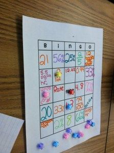 Percents, Fractions, and Decimals Bingo