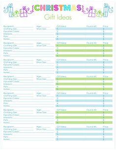 Christmas Gift Ideas List: Free Printables