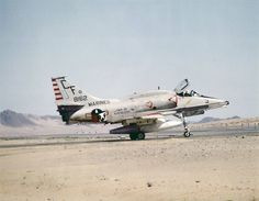 An A-4M Skyhawk of Marine Attack Squadron (VMA) 211 pictured on the ground at Twenty Nine Palms, California, in 1983