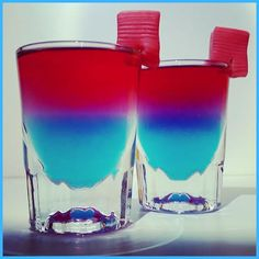 """Tasty """"Sugar Rush Shots!"""" Pinnacle Cotton Candy and Three Olives Bubble Gum with a bubble gum garnish!"""