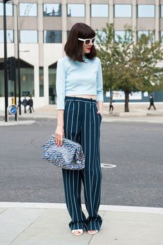 Pinstripes are more playful than business casual in this look.