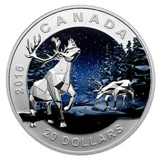 Fine Silver Coin - Geometry in Art: Caribou - Mintage: Canadian Coins, Coin Design, Coin Art, Metal Plaque, Commemorative Coins, Proof Coins, World Coins, Rare Coins, Coin Collecting