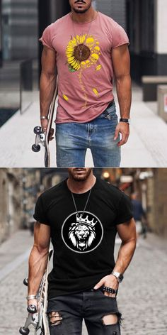 Stylish Mens Outfits, Casual Outfits, Casual T Shirts, Cool Shirts, Mens Fashion Wear, Fashion Outfits, Herren Outfit, Gentleman Style, Mode Style