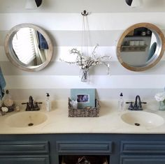 I am in love with the round mirrors in this fun bathroom by @jacsandhildesign. Tell me what you love about it!  Use #Imaremodelaholic to be featured.   #designer #designs #interior #interiorstyling #interiordesign #interiors #interiordesigner #house #home #decorate #style #sharemystyle #sharemyhome #homedecor #homedesign #homestyle #modernstyle #decor #interior4all #interior125 #instahome #hgtv #wheretofindme #sodomino