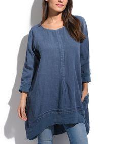 Blue Linen Hi-Low Tunic