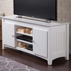 Atlantic Nantucket White Entertainment Console With Adjustable Shelves and Charging Station (Size), Atlantic Furniture Tv Stand Set, Solid Wood Tv Stand, Atlantic Furniture, Cool Tv Stands, Adjustable Shelving, Entertainment Center, Storage Spaces, Shelves, Entertaining