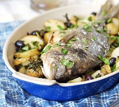 Roasting the fish along with the potatoes means all the lovely flavours mingle, serve on wilted spinach or kale.