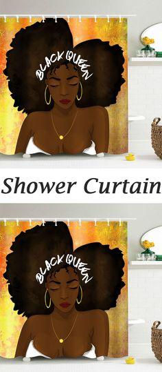 Hip Hop Afro Hair Queen Pattern Shower Curtain