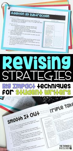 "Learn twelve ""big impact"" revising strategies for students to use to improve their writing. (The Thinker Builder) Writing Strategies, Writing Lessons, Teaching Writing, Writing Skills, Writing Activities, Writing Ideas, Writing Resources, Writing Process, Teaching English"