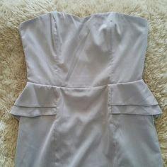 H&M Light Grey Strapless Peplum Dress Excellent pre-loved condition Color light grey Size 14 H&M Dresses Strapless