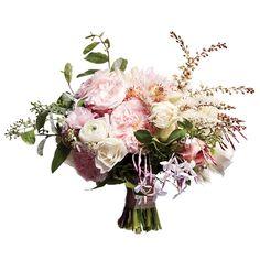 peony, garden rose, jasmine, eucalyptus, bridal veil protea, ranunculus, heather