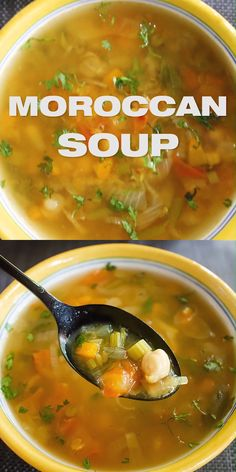 Spicy Moroccan Lentil Soup - Veg Harira Recipe [+Video], spiced soup stew with red lentils, garbanzo beans (chickpeas). Easy Soup Recipes, Vegetarian Recipes, Cooking Recipes, Healthy Recipes, Healthy Soup, Vegan Vegetarian, Meatless Soup Recipe, No Carb Dinner Recipes, Brothy Soup Recipes