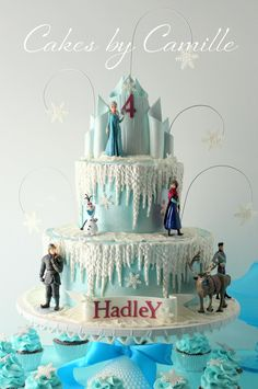 Disney Frozen Cake, with ice castle topper, Cakes by Camille, LLC Top Frozen Cakes Torte Frozen, Frozen Castle Cake, Disney Frozen Cake, Disney Cakes, Rapunzel Birthday Cake, Castle Birthday Cakes, Frozen Birthday Cake, Frozen Party, 4th Birthday