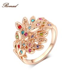 2017 Romad Brand Peacock Rings Rose Gold Color Genuine Austrian Crystals Fashion Women Wedding Jewelry Christmas Gift #Affiliate