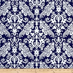 Riley Blake Large Damask Navy from @fabricdotcom  Designed by RBD Designers for Riley Blake, this cotton print is perfect for quilting, apparel and home decor accents.  Colors include white and navy.