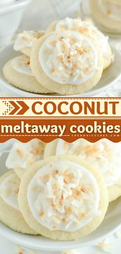 This easy summer dessert lets you feel like you're on a vacation on a tropical island! The whole family will love these Coconut Meltaway Cookies with icing and a buttery shortbread base. Save this cookie recipe!