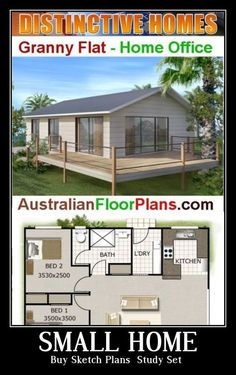 1033 sq feet 96 m2 2 bed small house plan small home Small House Floor Plans, Dream House Plans, Pallet House Plans, Little House Plans, Small Cottage House Plans, Cottage Homes, Tiny House Cabin, Tiny Houses, Small Lake Houses