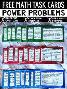 The POWER Math Line is an assortment of math task cards, math worksheets, and math word problems that assess conceptual Fifth Grade Math, Grade 3, 5th Grade Centers, Eureka Math 4th Grade, 4th Grade Math Games, 4th Grade Fractions, 3rd Grade Math Worksheets, 3rd Grade Classroom, Classroom Games