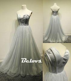 Prom Dress, A Line Dress, Grey Dress, Silver Dress, Tulle Dress, Prom Dress 2017, Sweetheart Dress, Dress Prom, Silver Prom Dress, A Dress