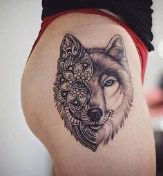 For Body Tattoo Designs Enthusiasts Absolutely No Area is Off Limits. Sleeve Tattoo Designs and Lower Back Tattoo Designs for women are. Wolf Tattoos For Women, Unique Tattoos For Women, Tattoo Designs For Women, Female Leg Tattoos, Mandala Tattoos For Women, Wolf Tattoo Design, Skull Tattoo Design, Tattoo Wolf, Wolf Pack Tattoo
