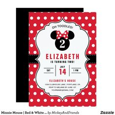 Invite all your family and friends to your daughter's Minnie Mouse themed Birthday Party with these red and white polka dot birthday invitations. Minnie Mouse Birthday Invitations, Minnie Mouse 1st Birthday, Disney Birthday, Birthday Invitation Templates, Birthday Party Themes, Birthday Cards, 2nd Birthday, Birthday Ideas, Birthday Gifts