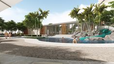 The community center is designed as a destination of collaboration & relaxation with functionality & aesthetics well integrated