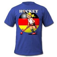 Hockey Dame des deutschen Feldhockey -Team Männer T-Shirt von American Apparel. #hockey #Deutschland #Spreadshirt #Cardvibes #Tekenaartje #SOLD