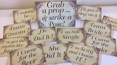 12 Wedding photo booth props &  sign, vintage style, photography prop, Same day shipping worldwide on Etsy, $16.79