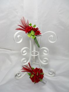 Red Prom Corsage And Matching Boutonniere For by TheWeddingPetal, $22.50