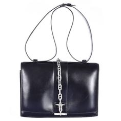 Hermes Vintage Black Bag with Removable Sterling Silver Chaine D'Ancre JaneFinds | From a collection of rare vintage top handle bags at https://www.1stdibs.com/fashion/handbags-purses-bags/top-handle-bags/