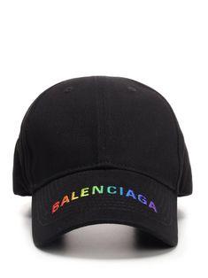 Balenciaga Colors Of The Rainbow Logo Embroidered Cap In Black Dope Hats, Balenciaga Mens, Mens Caps, Hats For Men, Baseball Cap, Vintage Outfits, Manila, Snapback, Black