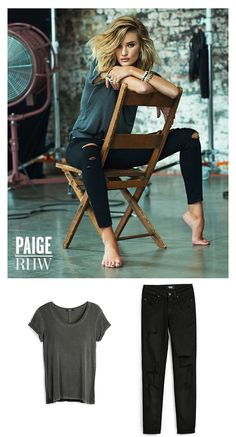 Rosie Huntington-Whiteley for PAIGE Fall 15 | Rosie wears the Ranleigh Tee in Black and the Verdugo Ankle in Black Shadow Destructed. The Ranleigh Tee is a super soft fabric featuring a faded black wash for a perfectly worn-in feel. The Verdugo in Black Shadow Destructed is made from our soft transcend denim fabric that combines chic with comfort and won't stretch out no matter what. Pair this look with ankle boots for daytime and dress it up with heels and a leather jacket for a night out.