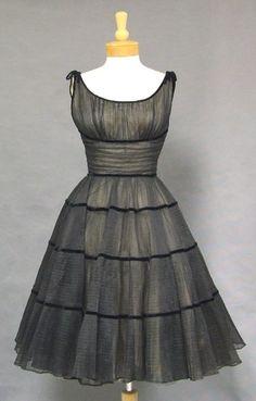 1950's Black Illusion Cocktail Dress w/ Velvet Bands