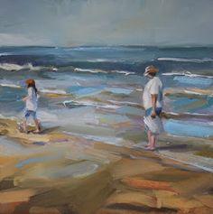 """Una pintura al día: """"Paseo en la Playa"""""""
