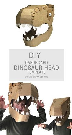 a printable template to make a Dinosaur Head costume out of cardboard. Crafts For Boys, Projects For Kids, Diy For Kids, Fun Crafts, Ocean Crafts, Preschool Crafts, Make A Dinosaur, Dinosaur Head, Diy Dinosaur Costume
