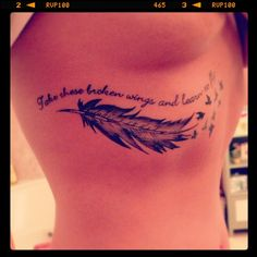 Take these broken wings and learn to fly Beatles lyrics. Tattoo. I really like this but I dont want it under my boob lol things that make a heart happy | tattoos picture boob tattoos