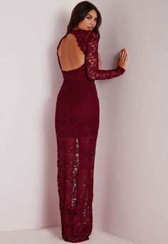 Lace Plunge Maxi Dress Burgundy #burgundy #lace #sheer #maxi #dress #fashion
