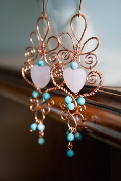 Copper wire and bead heart earrings