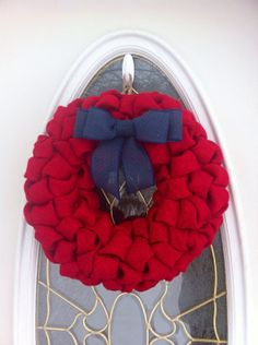 Red Burlap Wreath Patriotic with Navy Bow by WeHaveWreaths on Etsy, $52.00