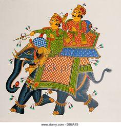 Miniature painting rajasthani maharaja on elephant - Stock Image Rajasthani Miniature Paintings, Phad Painting, Elephant Images, Shape And Form, Indian Art, Folk, Religion, Miniatures, Stock Photos